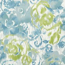 Фото: Обои Thibaut Bridgehampton T24342 Waterford Floral Aqua and Green- Ампир Декор