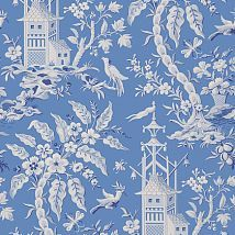 Фото: Обои Thibaut Imperial Garden T14204 Pagoda Garden Blue- Ампир Декор