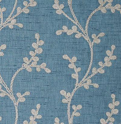 Портьерна ткань с вышитым растительным узором Sevati Denim Voyage Decoration