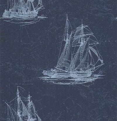 обои синие с кораблями CD003338 Chelsea Decor Wallpapers