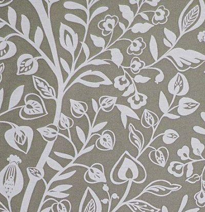 ткань с растительным узором серая Harlow Clay Voyage Decoration
