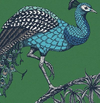 обои зеленые с павлинами 10884 Fardis