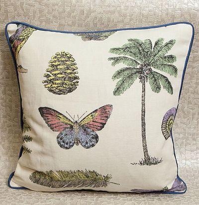 декоративная подушка из льна с принтом деревья Cocos Multi/Brights Sanderson