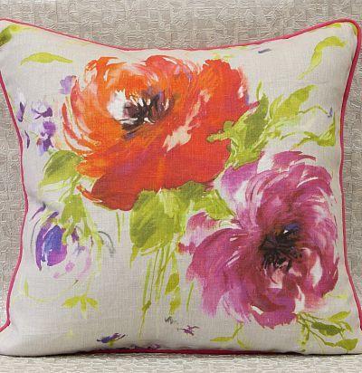 декоративная подушка из льна с цветочным принтом Mazurka Nutmeg Voyage Decoration