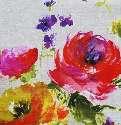 Яркая портьерная ткань с цветочным узором Mazurka Nutmeg Voyage Decoration