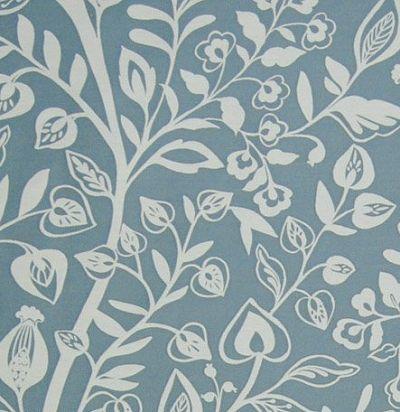 ткань голубого оттенка с растительным узором Harlow Sky Voyage Decoration