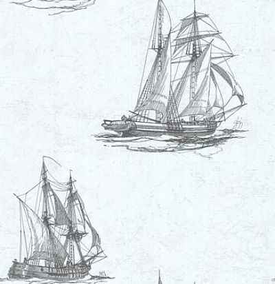 обои белые с кораблями CD003339 Chelsea Decor Wallpapers