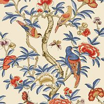 Фото: Обои Thibaut Imperial Garden T14228 Giselle Blue and Coral- Ампир Декор