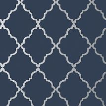 Фото: Обои Anna French Seraphina AT6060 Klein trellis Silver on Navy- Ампир Декор