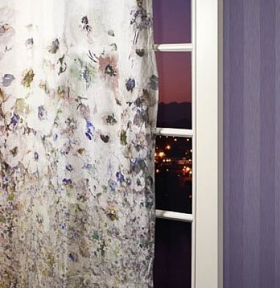 тюль из льна с акварельным принтом цветы 8168TB Ampir Decor