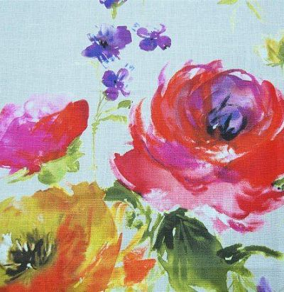 Льняная ткань с ярким цветочным принтом Mazurka Opal Voyage Decoration