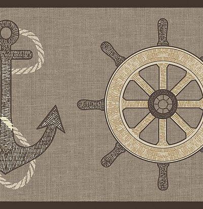 Серебряный бордюр с якорями 343008 Eijffinger