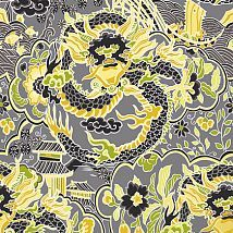 Фото: Обои Thibaut Imperial Garden T14234 Imperial Dragon Charcoal and Yellow- Ампир Декор