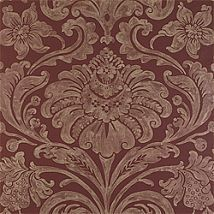 Фото: Обои Thibaut Filigree T2059 Maison damask Metallic on Burgundy- Ампир Декор