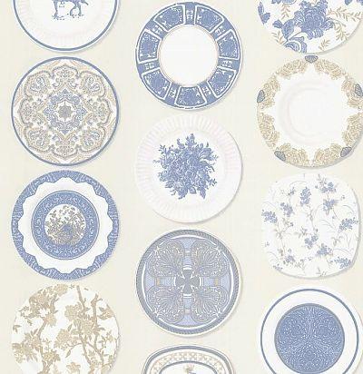 обои с узором из тарелок CD002205 Chelsea Decor Wallpapers