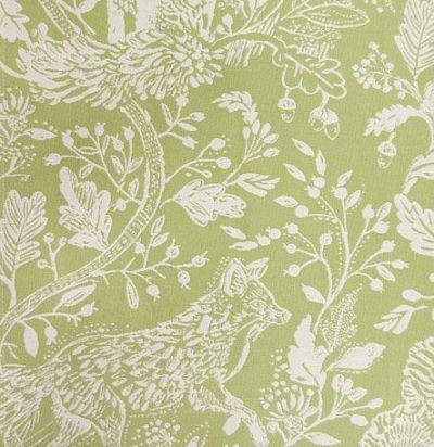 ткань зеленого оттенка с животными Cademuir Meadow Voyage Decoration