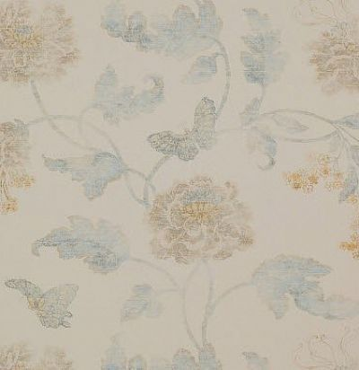 Английские обои 07952-06 Poppy & Butterfly Blue/Cream Colefax and Fowler