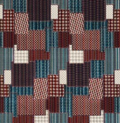 Жаккард из Англии FD747G103 Bohemian Patchwork Indigo/Red Mulberry