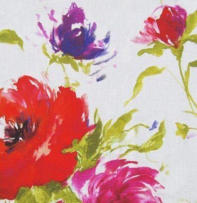 Льняная ткань с ярким цветочным принтом Mazurka Ecru Voyage Decoration